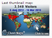 Visitor Count as of March 2015 (ClustrMap Crashed)
